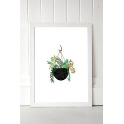 Brie Harrison Hanging Fern Basket Wall Art Print - White 2 at Urban Outfitters found on Bargain Bro UK from Urban Outfitters (UK)