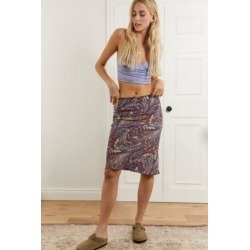 Urban Outfitters Archive Satin Paisley Print Awkward Skirt - Purple XS at Urban Outfitters