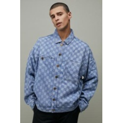 Lazy Oaf Checked Denim Jacket - Blue L at Urban Outfitters found on MODAPINS from Urban Outfitters (EU) for USD $200.20