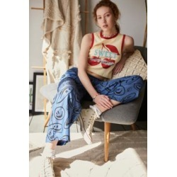 Lazy Oaf Squish Face Wide Leg Pants - Blue UK 8 at Urban Outfitters found on MODAPINS from Urban Outfitters (UK) for USD $110.66