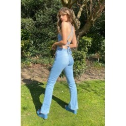 Miss Sixty UO Exclusive Halterneck Denim Jumpsuit - Blue M at Urban Outfitters found on Bargain Bro UK from Urban Outfitters (EU)