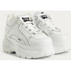 Buffalo White Leather Chunky Platform Trainers - white UK 5 at Urban Outfitters