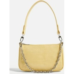 UO Chain Accent Croc Shoulder Bag - Yellow ALL at Urban Outfitters found on Bargain Bro UK from Urban Outfitters (UK)