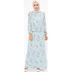 54a95c62525df Blue - Coral - Multi - Fully Lined - Crew neck - Muslim Evening Dress -