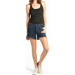 Women Designer Denim By Genetic | Relaxed Fit Dark Blue Stretch Boyfriend Shorts | Shop Luxury Clothing Online