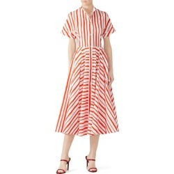 Martin Grant Collarless Striped Midi Dress print-white found on MODAPINS from Rent the Runway for USD $240.00