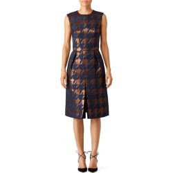 Martin Grant Bronze Houndstooth Dress blue-print found on MODAPINS from Rent the Runway for USD $230.00