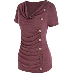 Cowl Neck Ruched Button Asymmetrical T Shirt found on Bargain Bro India from dresslily for $16.99