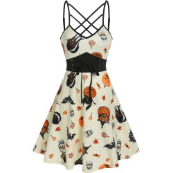 Halloween Printed Lace Up Cami A Line Dress found on MODAPINS from dresslily for USD $19.99