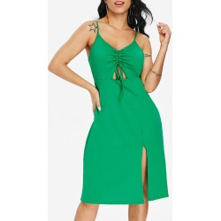 Ruched Drawstring Slip Dress found on MODAPINS from dresslily for USD $19.46