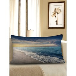 Beach Wave Print Sofa Linen Waist Pillowcase