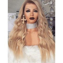 Long Wavy Synthetic Center Part Wig with Front Lace