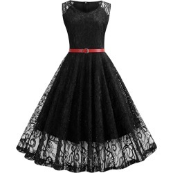 Sleeveless Belted Lace A Line Dress