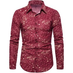 Tiny Flower Paisley Print Button Up Casual Shirt found on MODAPINS from dresslily for USD $22.99