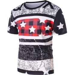 Plaid Star Print Short Sleeve T-shirt found on MODAPINS from dresslily for USD $16.79