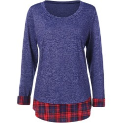 Tartan Panel Long Sleeve T-shirt found on MODAPINS from dresslily for USD $22.03