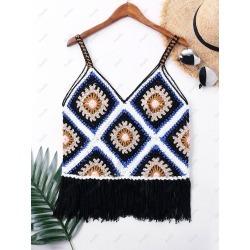 V-neck Crochet Fringe Cover Up Top