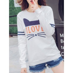 Kitten Graphic Long Sleeve T-Shirt found on MODAPINS from dresslily for USD $15.59