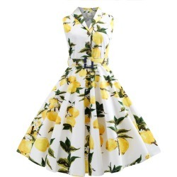 Lemon Print Belted A Line Dress found on MODAPINS from dresslily for USD $25.13
