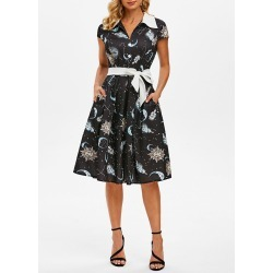 Sun Moon Star Mock Button Cap Sleeve Belted Dress found on MODAPINS from dresslily for USD $33.99