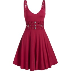 Buckle Button Ruched Waist A Line Dress found on MODAPINS from dresslily for USD $19.99