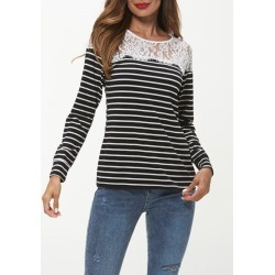 Lace Insert Striped Print Long Sleeve T-shirt found on MODAPINS from dresslily for USD $22.99