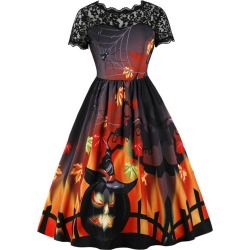 Halloween Printed Lace Panel Vintage A Line Dress found on MODAPINS from dresslily for USD $21.10