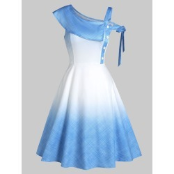 Ombre Color Skew Neck Flare Dress found on MODAPINS from dresslily for USD $22.99