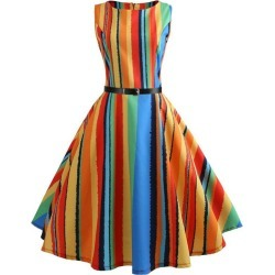 Colorful Striped Belted A Line Dress found on MODAPINS from dresslily for USD $18.72