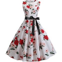 Retro Floral Belted A Line Dress found on MODAPINS from dresslily for USD $18.66