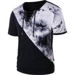 Tie Dye Lace Up Short Sleeve T-shirt found on MODAPINS from dresslily for USD $15.72