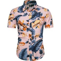 Tropical Leaf Floral Pattern Button Up Beach Shirt found on MODAPINS from dresslily for USD $22.99