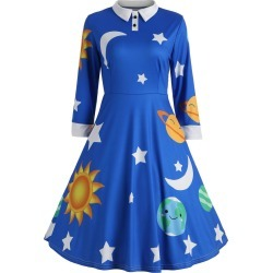 Sun and Moon Print Flare Vintage Dress found on MODAPINS from dresslily for USD $23.97
