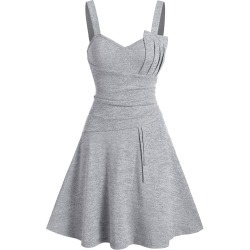 Plain Pleated Knitted Cami A Line Dress found on MODAPINS from dresslily for USD $19.99