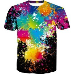 Men's 3D Graffiti Printing Short Sleeve T-shirt found on MODAPINS from dresslily for USD $17.16