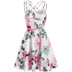 Floral Print High Waist A Line Dress found on MODAPINS from dresslily for USD $22.99