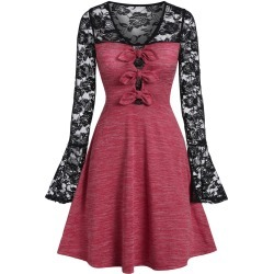 Lace Panel Marled A Line Dress