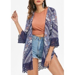 Lace Hem Print Long Kimono found on MODAPINS from dresslily for USD $18.50