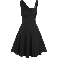 Mock Button Sleeveless Mini A Line Dress found on MODAPINS from dresslily for USD $19.99