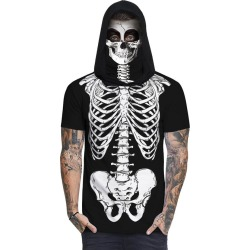 Skull Skeleton Print Mask Hooded T-shirt