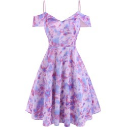 Tie Dye Foldover Cold Shoulder Dress found on MODAPINS from dresslily for USD $26.99