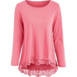 Charming Lace Spliced Hem Long Sleeve T-Shirt For Women found on MODAPINS from dresslily for USD $19.99