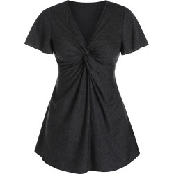 Heathered V Neck Twist Front T-shirt found on MODAPINS from dresslily for USD $16.99