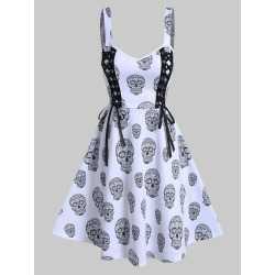 Gothic Skull Print Lace Up Cami A Line Dress found on MODAPINS from dresslily for USD $16.99