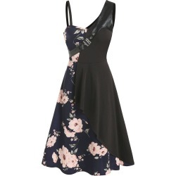 Floral Print Buckled Sleeveless Asymmetrical A Line Dress found on MODAPINS from dresslily for USD $22.99