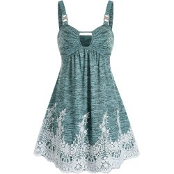 Keyhole Lace Insert Cami A Line Dress found on MODAPINS from dresslily for USD $22.99