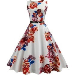 Belted Flower Sleeveless A Line Dress found on MODAPINS from dresslily for USD $14.99