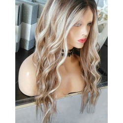 Middle Part Long Wavy Party Colormix Synthetic Wig