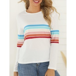 Colorful Stripe Print Long Sleeve T-shirt found on MODAPINS from dresslily for USD $22.99