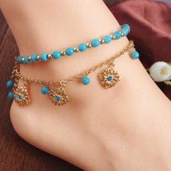 A Set of Attractive Bohemian Style Rhinestone Embellished Beads Double-Layered Floral Shape Women's Anklets